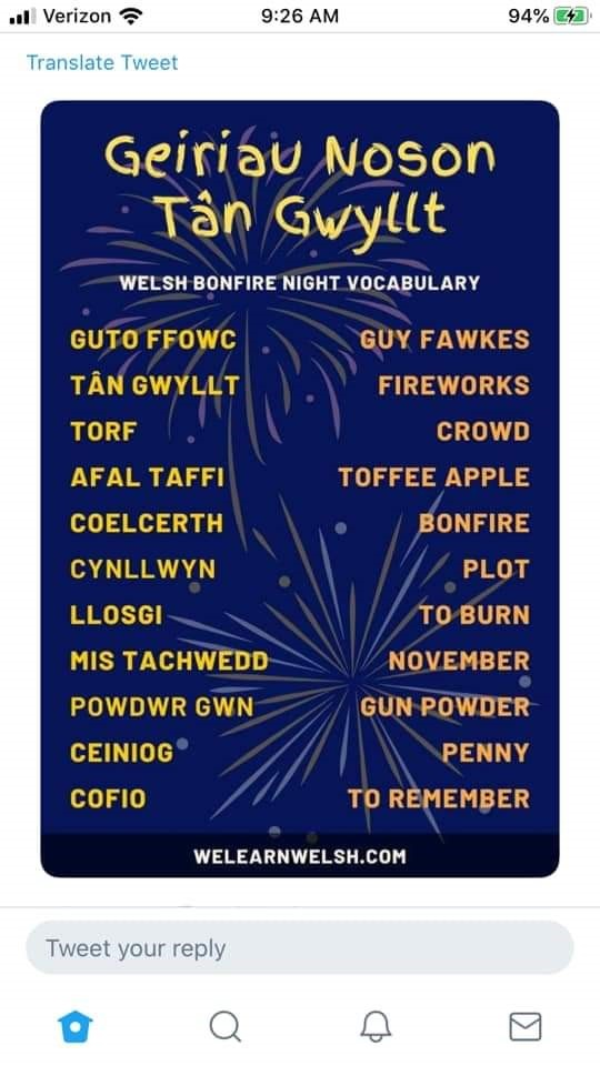 Tweet about Welsh words applying to Bonfire Night