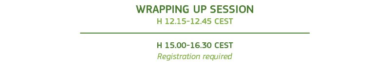 Wrapping up session h 12.15-12.45 and h 15.00-16.30 Registration required