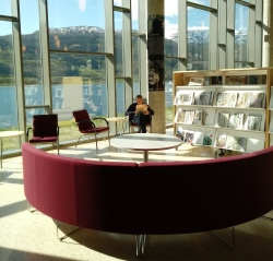 Voss library with a view of beautiful mountains through high windows behind a man reading