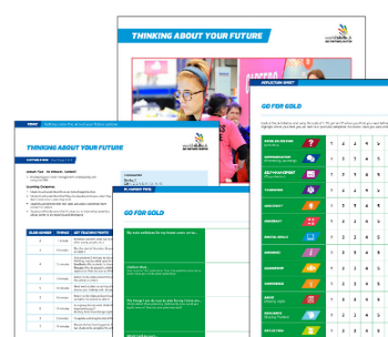 "A blurred lesson plan from the Careers Advice Toolkit with ""THINKING ABOUT YOUR FUTURE"" written at the top."